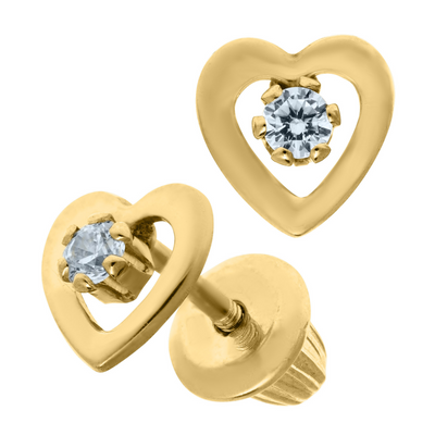 Heart CZ Stud Earrings 14K by Kury - Available at SHOPKURY.COM. Free Shipping on orders over $200. Trusted jewelers since 1965, from San Juan, Puerto Rico.