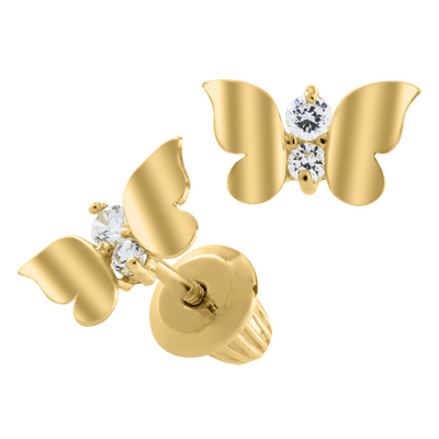 Gold Butterfly Stud Earrings 14K by Kury - Available at SHOPKURY.COM. Free Shipping on orders over $200. Trusted jewelers since 1965, from San Juan, Puerto Rico.
