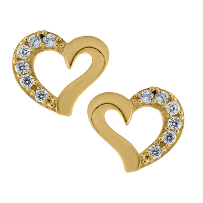 Open Slanted Heart Stud Earrings 14K by Kury - Available at SHOPKURY.COM. Free Shipping on orders over $200. Trusted jewelers since 1965, from San Juan, Puerto Rico.