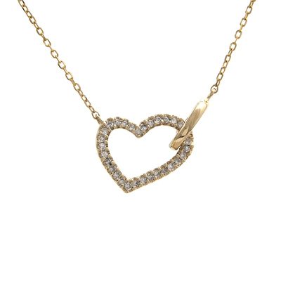 Slanted Diamond Heart Necklace - SHOPKURY.COM