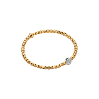 Yellow Gold Bracelet with Pave Rondel - SHOPKURY.COM