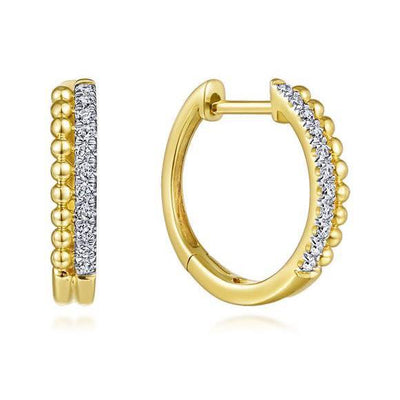 Beaded Diamond Huggie Earrings 14K by Gabriel & Co. - Available at SHOPKURY.COM. Free Shipping on orders over $200. Trusted jewelers since 1965, from San Juan, Puerto Rico.