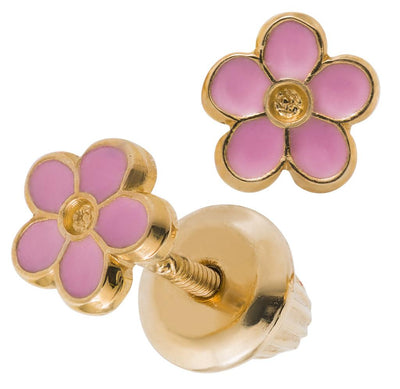 Gold Pink Flower Earrings - SHOPKURY.COM
