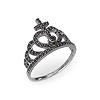 Black Crown Ring Size 8 by Amen - Available at SHOPKURY.COM. Free Shipping on orders over $200. Trusted jewelers since 1965, from San Juan, Puerto Rico.