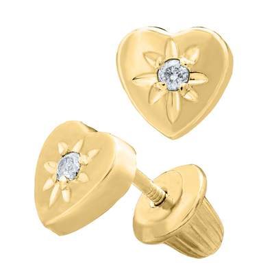 Diamond Heart Kids Stud Earrings 14K by Kury - Available at SHOPKURY.COM. Free Shipping on orders over $200. Trusted jewelers since 1965, from San Juan, Puerto Rico.
