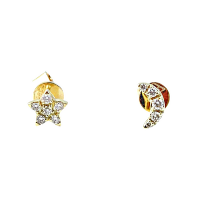 Moon Star Mismatch Stud Diamond Earrings - Kury Jewelry
