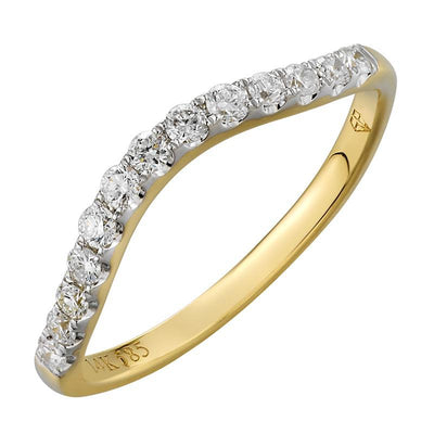 .25ct Diamond Yellow Gold Curved Ring by Kury Bridal - Available at SHOPKURY.COM. Free Shipping on orders over $200. Trusted jewelers since 1965, from San Juan, Puerto Rico.