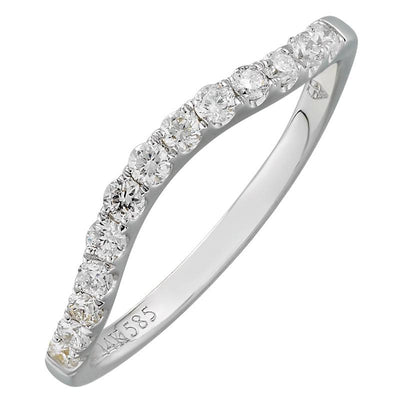.25ct Diamond White Curved Band by Kury Bridal - Available at SHOPKURY.COM. Free Shipping on orders over $200. Trusted jewelers since 1965, from San Juan, Puerto Rico.