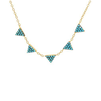 Golden Turquoise Triangles Necklace by Kury - Available at SHOPKURY.COM. Free Shipping on orders over $200. Trusted jewelers since 1965, from San Juan, Puerto Rico.