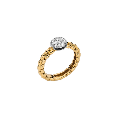 Yellow Gold Ring with Pave Rondel - SHOPKURY.COM