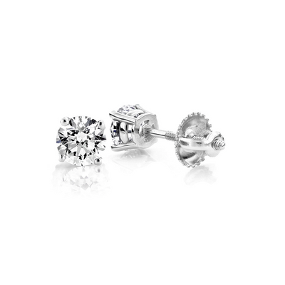 .60ct Solitaire Diamond Stud Earrings 14K - Kury Jewelry