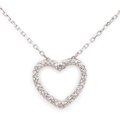 Silver Diamond Open Heart Necklace - SHOPKURY.COM
