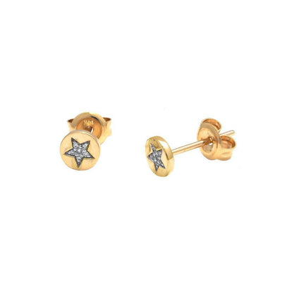 Star Disk Stud Earrings 14K - Kury Jewelry