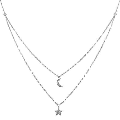 Two Layer Moon Star Necklace by Kury - Available at SHOPKURY.COM. Free Shipping on orders over $200. Trusted jewelers since 1965, from San Juan, Puerto Rico.