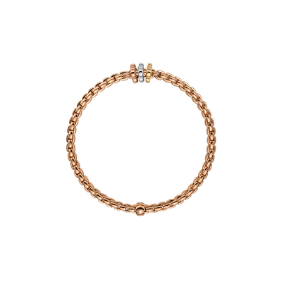 Rose Gold Bracelet with Tricolor Charm - SHOPKURY.COM
