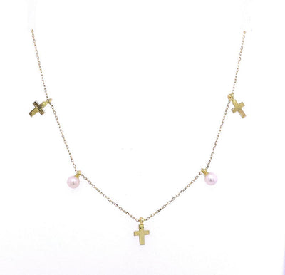 Mini Pearl and Cross Charms Necklace by Kury - Available at SHOPKURY.COM. Free Shipping on orders over $200. Trusted jewelers since 1965, from San Juan, Puerto Rico.