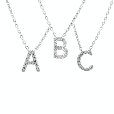 Medium Diamond Initial Necklace by Kury - Available at SHOPKURY.COM. Free Shipping on orders over $200. Trusted jewelers since 1965, from San Juan, Puerto Rico.