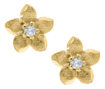 14K Flower Diamond Stud Earrings by Kury - Available at SHOPKURY.COM. Free Shipping on orders over $200. Trusted jewelers since 1965, from San Juan, Puerto Rico.