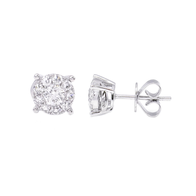 1ct Face Look Diamond Earrings - SHOPKURY.COM