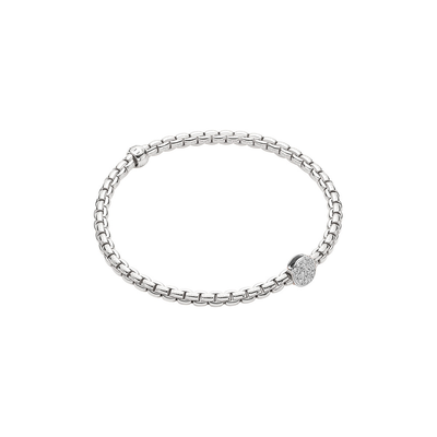 White Gold Bracelet with Pave Rondel - SHOPKURY.COM