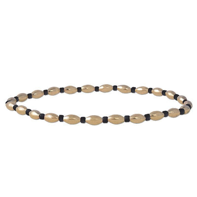Alternating Oval Black Beads Bracelet - SHOPKURY.COM
