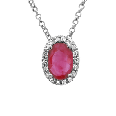 .48 Oval Ruby and Diamonds Necklace by Kury - Available at SHOPKURY.COM. Free Shipping on orders over $200. Trusted jewelers since 1965, from San Juan, Puerto Rico.