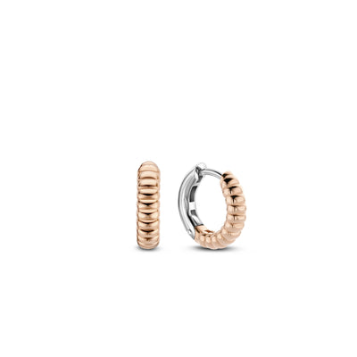 Skinny Rose Ribbed Huggie Earrings by Ti Sento - Available at SHOPKURY.COM. Free Shipping on orders over $200. Trusted jewelers since 1965, from San Juan, Puerto Rico.