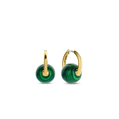 Green Malachite Hoop Earrings by Ti Sento - Available at SHOPKURY.COM. Free Shipping on orders over $200. Trusted jewelers since 1965, from San Juan, Puerto Rico.