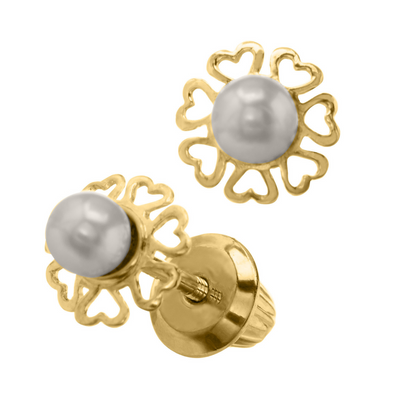 Heart Border Pearl Stud Earrings by Kury - Available at SHOPKURY.COM. Free Shipping on orders over $200. Trusted jewelers since 1965, from San Juan, Puerto Rico.