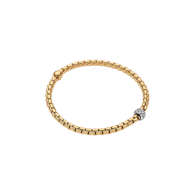 Yellow Gold Bracelet with Pave Charm - SHOPKURY.COM