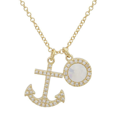 Anchor Mother Pearl Necklace by Kury - Available at SHOPKURY.COM. Free Shipping on orders over $200. Trusted jewelers since 1965, from San Juan, Puerto Rico.