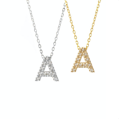 Small Diamond Initial Necklace by Kury - Available at SHOPKURY.COM. Free Shipping on orders over $200. Trusted jewelers since 1965, from San Juan, Puerto Rico.