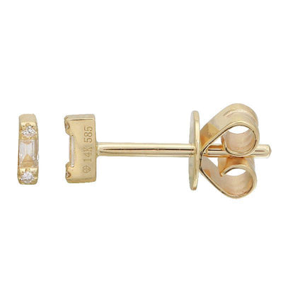 Mini Diamond Baguette Stud Earrings by Kury - Available at SHOPKURY.COM. Free Shipping on orders over $200. Trusted jewelers since 1965, from San Juan, Puerto Rico.