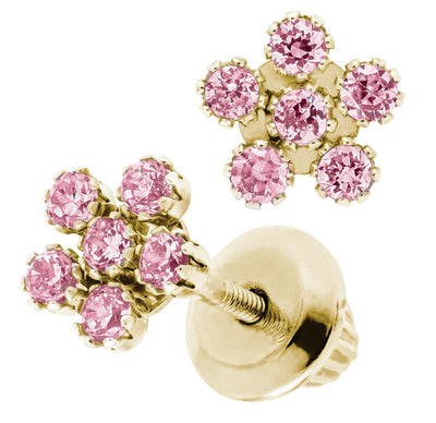 Pink Flower 14K Stud Earrings by Kury - Available at SHOPKURY.COM. Free Shipping on orders over $200. Trusted jewelers since 1965, from San Juan, Puerto Rico.