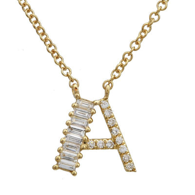 8mm Baguette Diamond Initial Necklace by Kury - Available at SHOPKURY.COM. Free Shipping on orders over $200. Trusted jewelers since 1965, from San Juan, Puerto Rico.