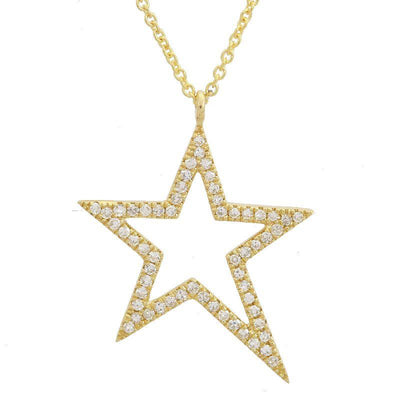 Diamond Star Outline Necklace by Kury - Available at SHOPKURY.COM. Free Shipping on orders over $200. Trusted jewelers since 1965, from San Juan, Puerto Rico.