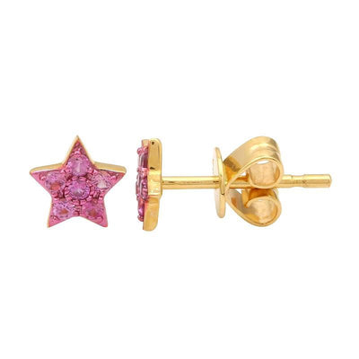 Pink Sapphire Star Stud Earrings by Kury - Available at SHOPKURY.COM. Free Shipping on orders over $200. Trusted jewelers since 1965, from San Juan, Puerto Rico.