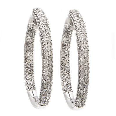 14K Diamond Rounded Hoop Earrings by Kury - Available at SHOPKURY.COM. Free Shipping on orders over $200. Trusted jewelers since 1965, from San Juan, Puerto Rico.