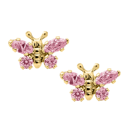 Pink Butterfly Stud Earrings 14K by Kury - Available at SHOPKURY.COM. Free Shipping on orders over $200. Trusted jewelers since 1965, from San Juan, Puerto Rico.