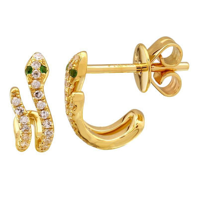 Snake Lobe Stud Earrings 14K by Kury - Available at SHOPKURY.COM. Free Shipping on orders over $200. Trusted jewelers since 1965, from San Juan, Puerto Rico.