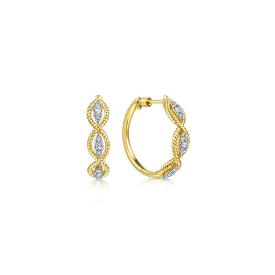 20mm Intricate Diamond Hoop Earrings - SHOPKURY.COM