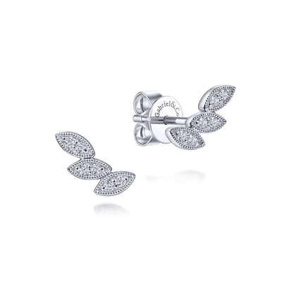 Diamond Leaves Stud Earrings - Kury Jewelry