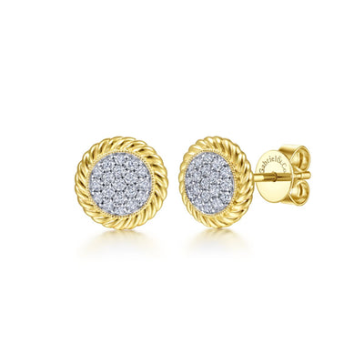 Pave Diamond Center Stud Earrings - Kury Jewelry
