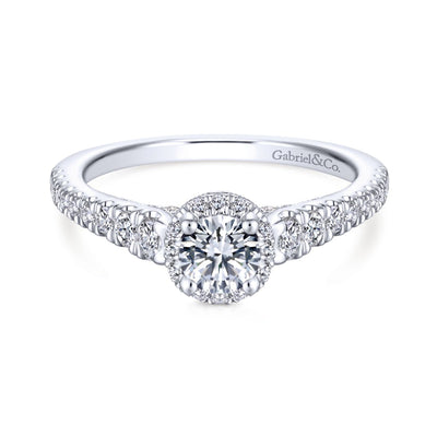 Round Diamond Halo Ring by Gabriel & Co. - Available at SHOPKURY.COM. Free Shipping on orders over $200. Trusted jewelers since 1965, from San Juan, Puerto Rico.
