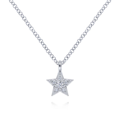 Diamond Star White Gold Necklace by Gabriel & Co. - Available at SHOPKURY.COM. Free Shipping on orders over $200. Trusted jewelers since 1965, from San Juan, Puerto Rico.
