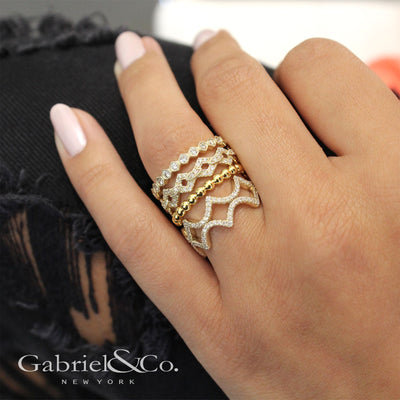 14K Gold Diamond Waves Ring - SHOPKURY.COM