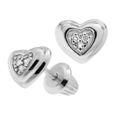 Heart Diamond 7MM Stud Earrings by Kury - Available at SHOPKURY.COM. Free Shipping on orders over $200. Trusted jewelers since 1965, from San Juan, Puerto Rico.
