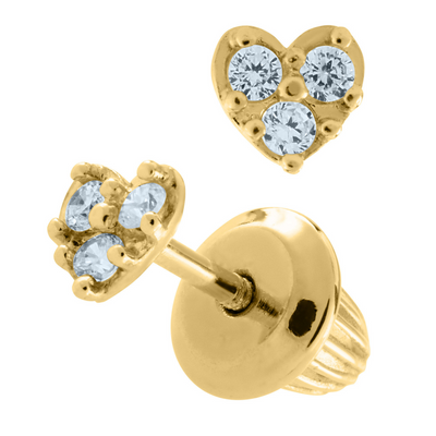Heart Pave Stud Earrings 14K by Kury - Available at SHOPKURY.COM. Free Shipping on orders over $200. Trusted jewelers since 1965, from San Juan, Puerto Rico.