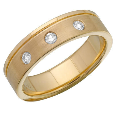 Three Diamond Gold Brushed Band by Kury Bridal - Available at SHOPKURY.COM. Free Shipping on orders over $200. Trusted jewelers since 1965, from San Juan, Puerto Rico.