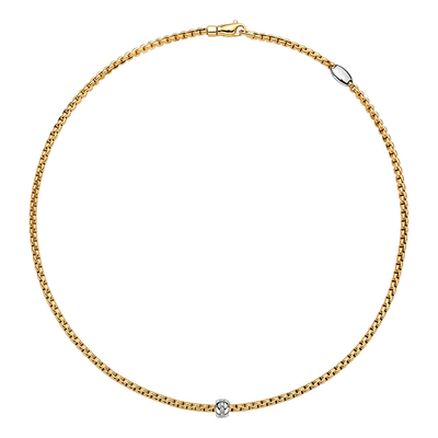 Yellow Gold Necklace with Diamond Charm 19.7in - SHOPKURY.COM